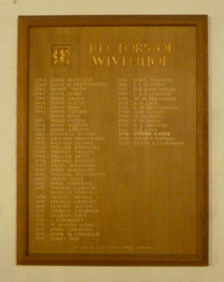 This board hangs in St Mary's Church on which the names of all the Rectors have been recorded since 1330. | Photo: Peter Hill