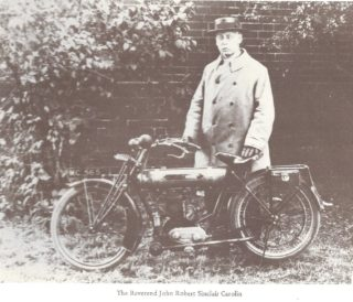 Rev Sinclair Carolin and his motor-bike   From Dick Barton's book:  Wivenhoe - Its Attractions, Pleasures & Eccentric Natives
