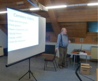 John Foster giving a talk to the Wivenhoe History Group on 17th October 2017   Peter Hill