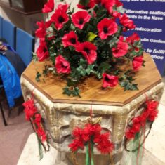 The font had this magnificent display of poppies made by Wivenhoe Quay Quilters | Peter Hill