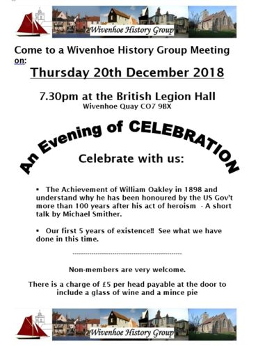 Wivenhoe History Group - Meeting on Thursday 20th December