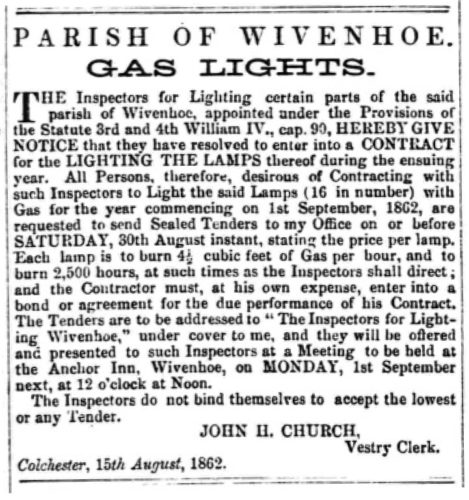 Gas Lights | Essex Standard 15 August 1862