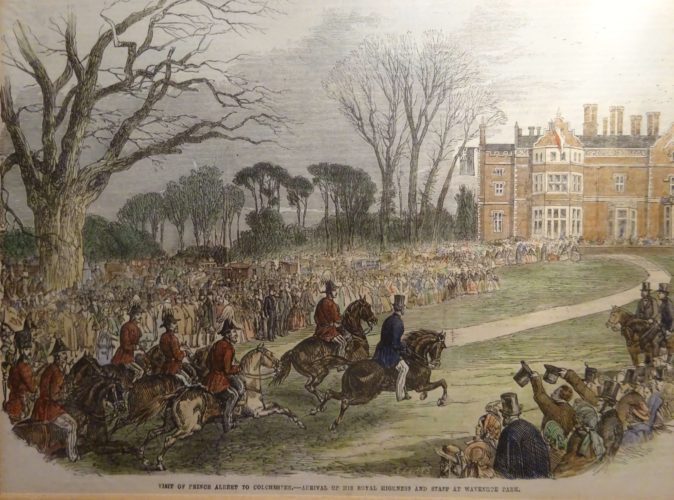 Prince Albert visits Wivenhoe Park on 21st April 1856 | From an engraving which appeared in the London Ilustrated News in 1856