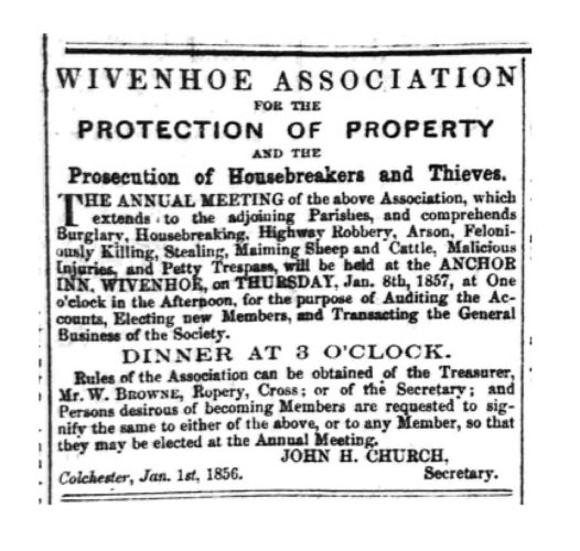 Wivenhoe Association for the Protection of Property | Essex Standard 2 January 1856