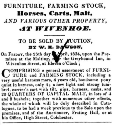 Sale of Maltings Furniture and Farming Stock | Essex Standard 12 April 1834