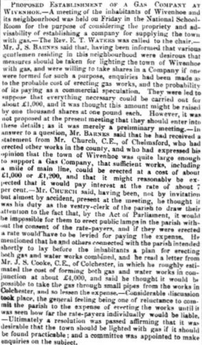A Gas Company for Wivenhoe 1861 | Essex Standard 25.1.1861