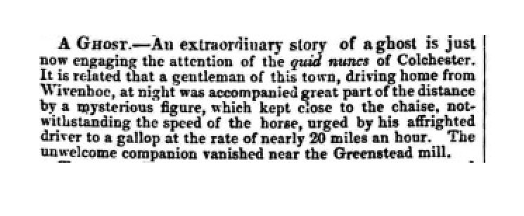 A Ghost at Wivenhoe! | Essex Standard 16 February 1844