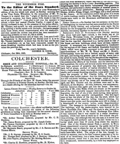 Extensive Fire ar Vine Farm 1863 | Essex Standard 30 October 1863