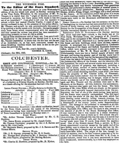 Extensive Fire ar Vine Farm 1863 | Essex Standard 30 October 1863