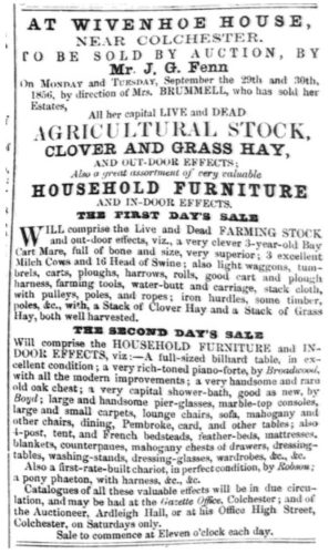 Wivenhoe House: Sale of Agricultural Stock and Household Furniture  | Essex Standard 12th September 1856