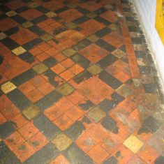 Wyvenhoe Board School: decorative quarry floor tiles | Margie North