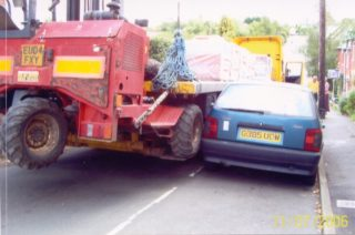 Plant machinery damaging vehicle while trying to access Cooks Shipyard via Queens Road in July 2006 | QRRA