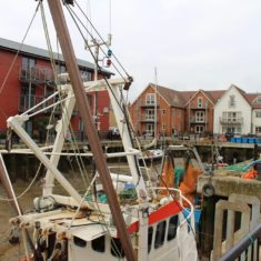 Fishing Boats in the Wet Dock with the new homes around. | Photo by Peter Hill