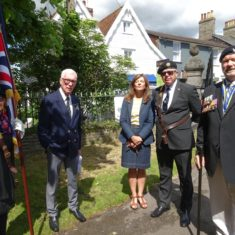 LtoR: Charm Wheatley, Standard Bearer; Lawrence Knox, former RBL Branch Chairman; Jo Beighton-Emms, RBL Branch Treasurer and Wivenhoe Town Clerk; Dan Luxford, RBL Standard Bearer; RBL Branch Chairman, Bob Blackmore. | Photo by Peter Hill
