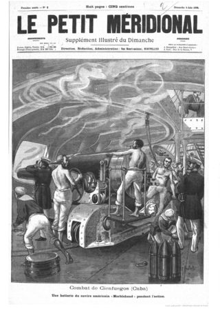 The picture which appeared on 5th June 1898 in the illustrated supplement of the journal, Le Petit Meridional, that showed the action in one of the gun batteries on board the USS Marblehead.