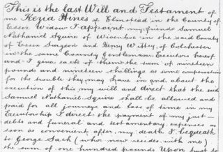 Snapshot of Kezia Hines Will 21 August 1880