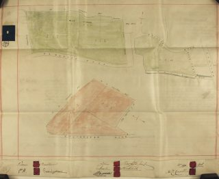 Image Six: Plan attached to the Deed dated 22.12.1865 referring to a Conveyance of property between John Bawtree, George Henry Errington, John Bawtree the younger and Jeremiah Haddock and Nicholas Caesar Corsellis. This includes the parcels  south east of the Cross, the parcels abutting on what is now Belle Vue Road and the parcel on the Elmstead side of the Brook running down southward to Queens Road and across the railway. | Essex Record Office D/DU 225/16