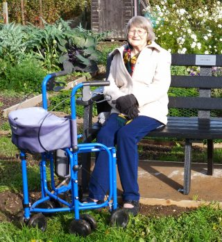 Jane Cole at the unveiling of Don Hirst's memorial bench at the Wivenhoe Allotments in 2015 | Photo by Peter Hill