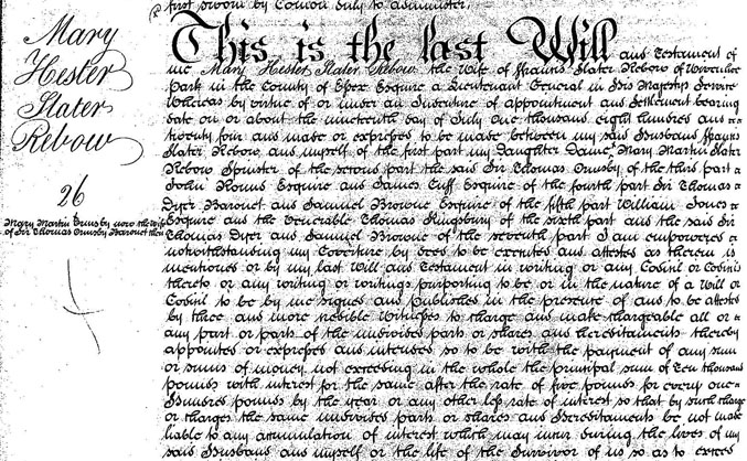 Will of Mary Hester Slater Rebow 1777-1834