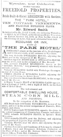 The Park Hotel advertised for sale in 1870 | Essex Standard 23rd September 1870