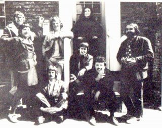 A group of artists outside the Black Buoy in 1971. From left to right, standing: Michael Heard, Pam Dan, John Mead, Gail Cross and Tony Young. Sitting: Alan Taylor, Roy Cross and John Dan | Pam Dan