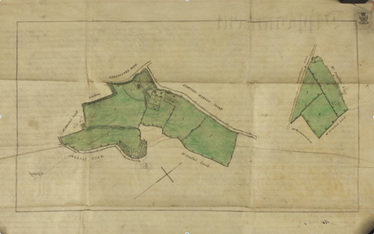 Plan attached to Deed dated 27 July 1859 between the Trustees of the late William Brummell and Thomas Harvey showing the Wivenhoe House Estate at that time running down from the High Street/Belle Vue Road corner and along BelleVue Road southward towards the Brook and what will later become Queens Road and beyond; including land east of the Brook bounded by Ballast Quay Road which was at that time in Elmstead; and also including the three separate parcels of land south east of the Cross and to the east side of Rectory Road. | Essex Record Office D/DU 225/10