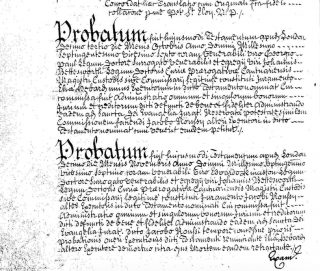 Extract from the Will of John Espinasse dated 14 July 1726 showing the comment referring to the French translation and the two Probatum or Probate certificates in Latin  | National Archives PROB 11 611 171