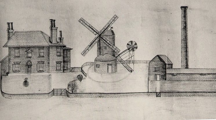 An artists impression of the Wivenhoe Mill in the mid nineteenth century | Reproduced by courtesy of Essex Record Office