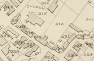 Extract from 1838 Tithe Award Map showing parcels 316, 317, 318, and 327 on the North Side of East Street prior to the building of Alma Street.