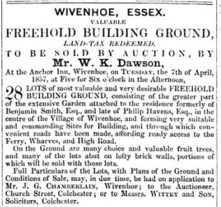 Disposal of Philip Havens property at Auction | 27th March 1857 Essex Standard