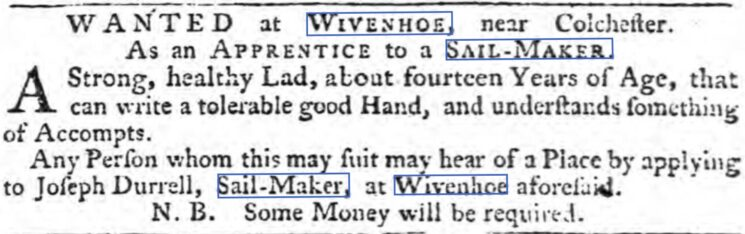 Joseph Durrell, Sail-Maker, 1764 | The Ipswich Journal, Saturday 13 October 1764 [British Newspaper Archive]