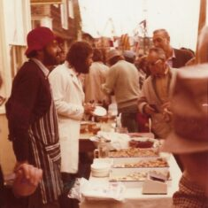 Artist Tony Young and his sea-food stall | Pat Marsden 1974