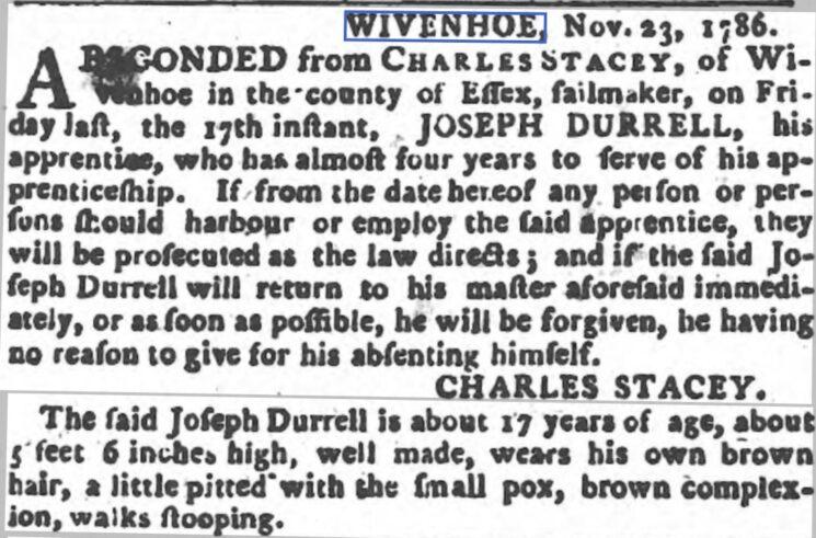Joseph Durrell, Apprentice to Charles Stacey, Sailmaker 1786 | The Ipswich Journal, Saturday, 25 November 1786 [British Newspaper Archive]
