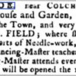 Mrs. Field's School to Educate Young Ladies 1768