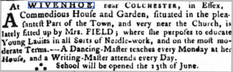 Mrs. Field's School to Educate Young Ladies 1768 | The Ipswich Journal, 4 June 1768 [British Newspaper Archive]