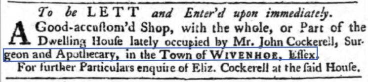 John Cockerell, Surgeon and Apothecary 1761 | The Ipswich Journal, Saturday, 2 May 1761 [British Newspaper Archive]