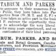 Tabrum and Parkes, Wholesale and Retail Grocers, Candle Manufacturers and Provision Merchants 1855