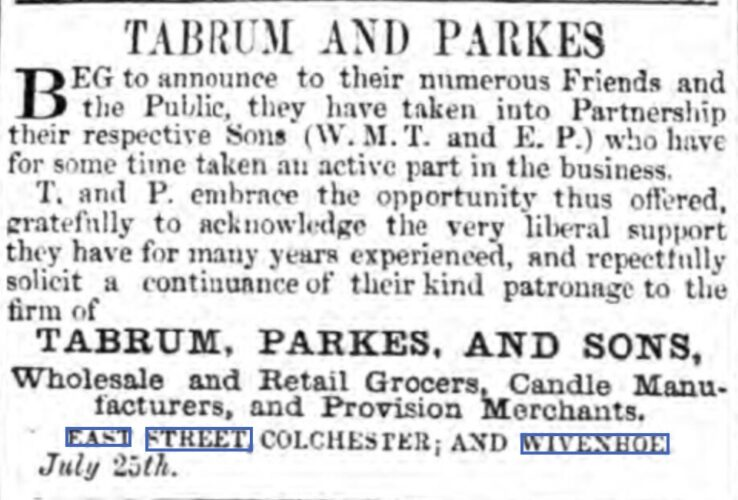 Tabrum and Parkes, Wholesale and Retail Grocers, Candle Manufacturers and Provision Merchants 1855 | Chelmsford Chronicle, Friday, 27 July 1855 [British Newspaper Archive]