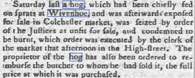 Condemned Hog Fed on Sprats 1800 | Ipswich Journal, Saturday, 8 March 1800 [British Newspaper Archive]