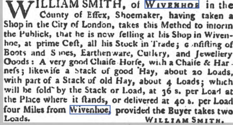 William Smith, Shoemaker 1773 | The Ipswich Journal, Saturday 4 December 1773 [British Newspaper Archive]