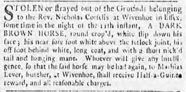 Mathias Lever, Butcher 1785 | Ipswich Journal, 26 February 1785 [British Newspaper Archive]