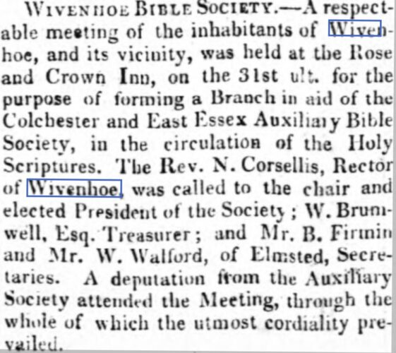 Wivenhoe Bible Society 1813 | Suffolk Chronicle, or Weekly General Advertiser & County Express, Saturday, 12 June 1813 [British Newspaper Archive]
