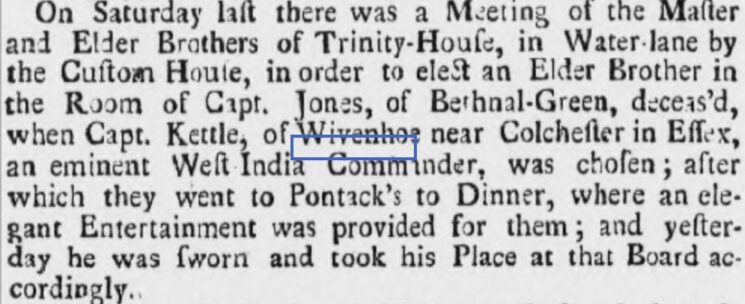 Captain James Kettle, Elder Brother of Trinity House, 1735 | Ipswich Journal, Saturday, 12 April 1735 [British Newspaper Archive]