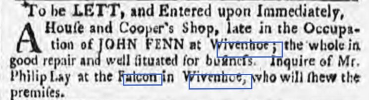 John Fenn, Cooper's Shop 1780 | Ipswich Journal, Saturday, 11 March 1780 [British Newspaper Archive]