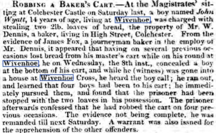 Jack Wyatt, Robbing a Baker's Cart 1841   Essex Standard, Friday, 17 December 1841 [British Newspaper Archive]