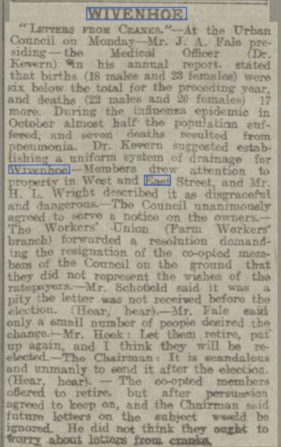 'Letters from Cranks' to the Urban Council 1919 | Chelmsford Chronicle, Friday, 16 May 1919 [British Newspaper Archive]