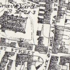 Detail from 1876 Ordnance Survey Map showing the parcel at that time opposite the house on the north side of East Street once occupied by Philip Havens