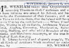 Richard Wenham, Schoolmaster 1773