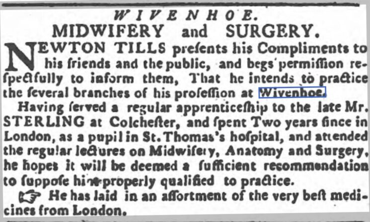 Newton Tills, Midwifery and Surgery 1787 | Ipswich Journal, Saturday 29 December 1787 [British Newspaper Archive]