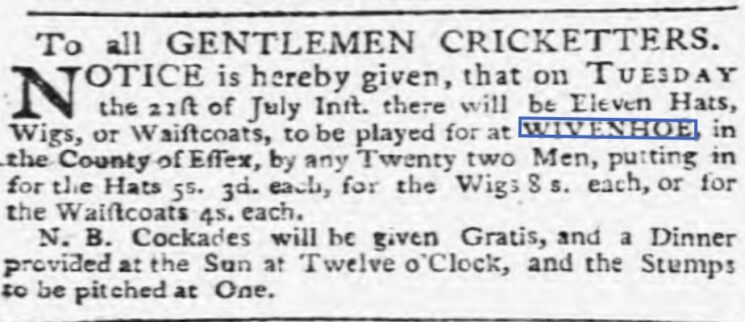 Eleven Hats, Wigs, or Waistcoats 1772 | Ipswich Journal, Saturday 18 July 1772 [British Newspaper Archive]